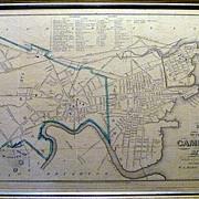 Antique Map of Cambridge Massachusetts in 1852