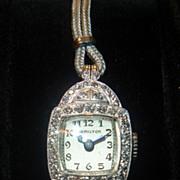 SOLD Vintage Hamilton Platinum & Diamond Wristwatch