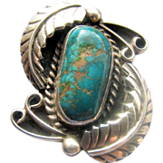 Large Vintage Native American Turquoise and Silver Ring