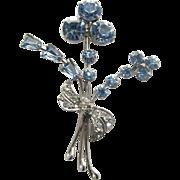 SALE Dainty Blue & Clear Rhinestones Stylized Flower Pin