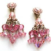 Pink Crystals Dangling Dangly Chandelier Earrings