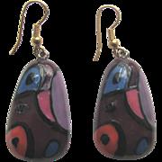 1970s EISENGERG Enameled Dangly Earrings in Purple, Pink, Blue