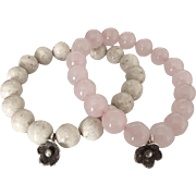 Duo Beaded Bracelets - Riverstone and Rose Quartz - Hill Tribes Silver Floral