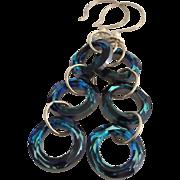 SOLD Gorgeous ! Dazzling ! Bermuda Blue - Swarovski Crystal - Cosmic Rings - 3 Inch Dangle Ear