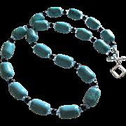 Color Bursting - Turquoise Blue Dyed Howlite, Black Jasper, Swarovski Crystal - 20 Inch Necklace