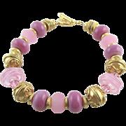 Pink Italian Moretti Glass Lampwork Beaded, Vermeil Bracelet