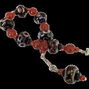 Sienna Sensation Lampwork Beaded, Carnelian, Onyx, Swarovski Crystal Bracelet