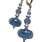 SOLD Blue Boro Waves, Swarovski Crystal, Sterling Silver Dangle Earrings