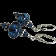 SOLD Blue Boro Glass Lampwork, Bali Sterling Silver, Swarovski Crystal Dangle Earrings