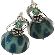 SOLD Blue Teal - Color Shifting plus Effervescent Shimmer - Boro Glass Lampwork Beaded, Swarov