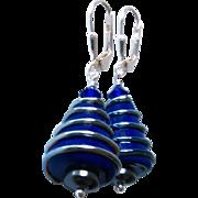 Cobalt Blue, Italian Moretti Glass Lampwork Beaded, Sterling Silver Dangle Earrings