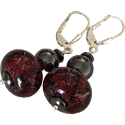 SALE Dynamic - Deep Red Boro Lampwork Beaded, Reflective Steely Hematite, Sterling Silver Dang