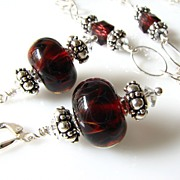SALE One-Of-A-Kind - Deep Red Boro Glass Lampwork Beaded Focal, Swarovski Crystal, Sterling Si