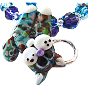 SALE Tie-Dyed - Italian Moretti Glass Lampwork Kitty Focal, Swarovski Crystal, Necklace and Ea