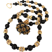 One-Of-A-Kind - Italian Moretti Glass Lampwork Focal, Black Onyx, Swarovski Crystal, Vermeil - 24 Inch Wearable Art Necklace !