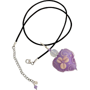 SALE Italian Moretti Glass, Etched Violet Floral Heart, Lampwork Beaded Focal Pendant Necklace