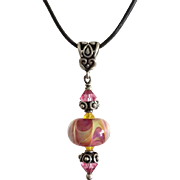 Color Shifting Boro Glass Lampwork Focal, Bali Sterling Silver, Swarovski Crystal - One-Of-A-Kind Wearable Art Necklace