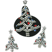 SALE Dorothy Bauer Patriotic Christmas Tree Brooch and Earrings