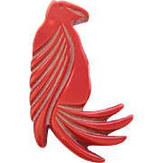 SALE French Red Galalith Parrot Brooch