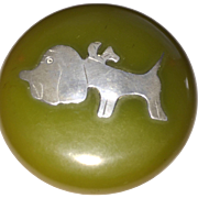 Bakelite Brooch with Sterling Bowed Dog