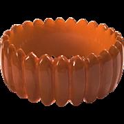 Exceptional Hand-carved Caramel Bakelite Bangle