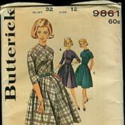 Uncut 1950s/60s Butterick Dress Sewing Pattern ~ Size 12