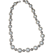 SALE Vintage Simulated Pearl and Silver Color  Necklace