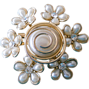 SOLD Vintage Coro Pin with Imitation Pearl-like Petals and Rhinestones