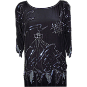 Vintage Black Silk Beaded Top from Gidding Jenny Store
