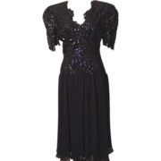 Vintage Casadei 1982 Black Sequin Short Dress with Tag Attached