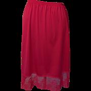 SALE Vintage Red Vanity Fair Half Slip with Pretty Lace