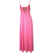 Lilly of France Vintage Coral-Colored Nightgown with Pretty Lace