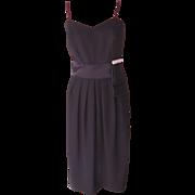 Vintage Black Sleeveless Dress with Bow and Rhinestones