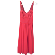 SALE Vintage Red Vanity Fair Nightgown with Lace