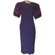 Vintage Petite Navy Blue Dress with Ribbons and Sequins