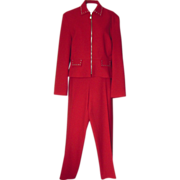SALE Vintage Red Wool Pant Suit with Silver Accents