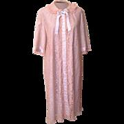 Vintage Odette Barsa Pale Blue Robe with Lace Overlay