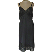 Vintage Black Val Mode Slip with Black Lace and Black Applique Flowers