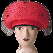SALE Vintage Red and Black Doris Designed Hat