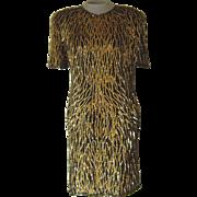 Vintage Black Silk Lawrence Kozar Short Dress with Gold Sequins and Bugle Beads