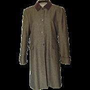 Bill Blass Brown  Tweed Coat with Velvet Collar