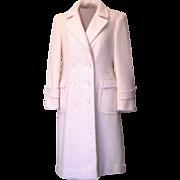 Vintage Winter White Evan Piccone 100 % Wool Long Dress Coat