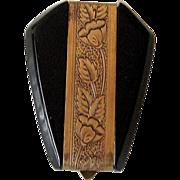 Vintage Black Bakelite with Brass Engraving Dress Clip