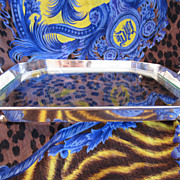 Sterling Silver and Glass Austrian Footed and Handled Tray
