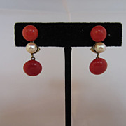 Natural Red Coral & Pearl Earrings