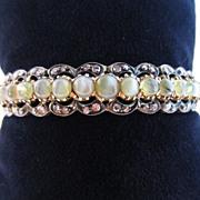 Cat's-Eye Chrysoberyl, Diamond and 18k Rose Gold Bangle Bracelet