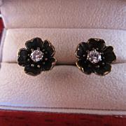 Diamond and 14k Flower Stud Earrings
