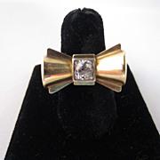Retro Gold and Diamond Bow Ring