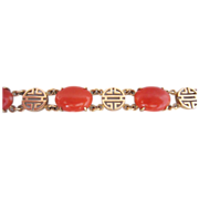 14k Yellow Gold and Natural Salmon Coral Bracelet