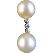 Cultured Pearl and Diamond Drop Earrings